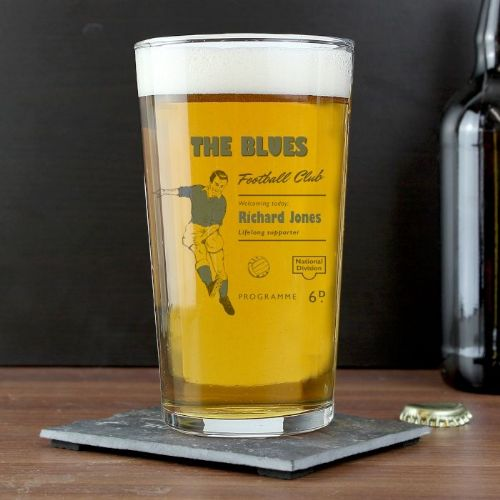 Personalised Vintage Blue's Football Supporter's Pint Glass
